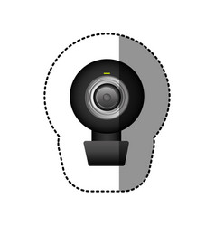 Black computer camera icon vector