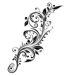 black floral branch decorative filigree design vector image