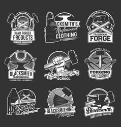 Blacksmithing shop forging isolated icons vector