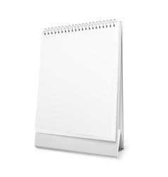 Blank standing desk calendar with a spiral vector