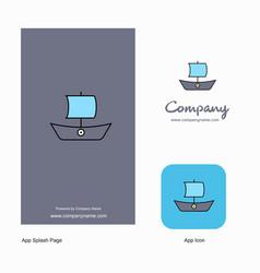 boat company logo app icon and splash page design vector image