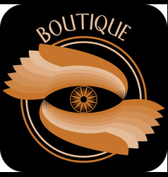 Boutique signboard composed as circle with two vector