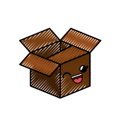 Box cartoon smiley vector
