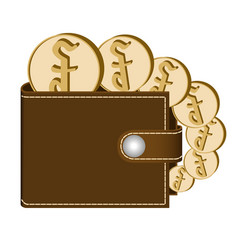 Brown wallet with riel coins vector