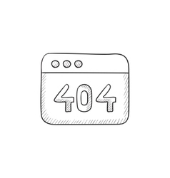 Browser window with 404 error sketch icon vector