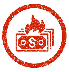 Burn banknotes rounded grainy icon vector