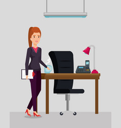 Businesswoman in the office workplace scene vector