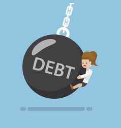 Businesswoman is hit by debt wrecking ball vector