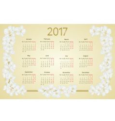 Calendar 2017 with jasmine flowers vintage vector