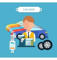 Car Shop Concept Flat Design Style vector image