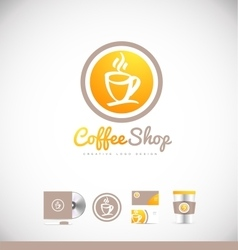 Coffee cup logo icon badge design vector