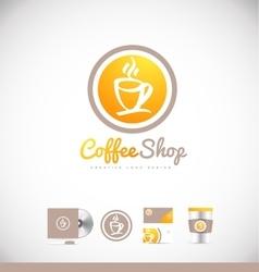Coffee cup logo icon badge design vector
