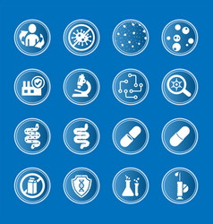 Collection medical icons on subject vector
