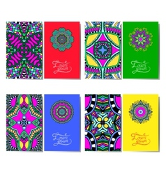 collection of ornamental floral business cards vector image