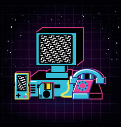 computer and set icons old retro vector image