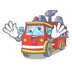 Crazy fire truck mascot cartoon vector
