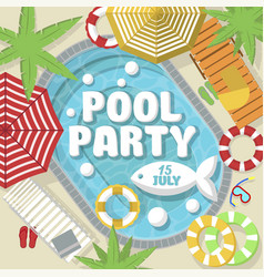 Creative postcard inviting for pool party vector