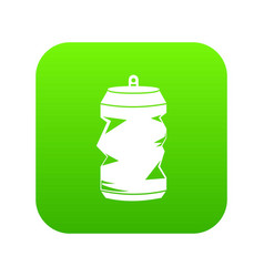 crumpled aluminum cans icon digital green vector image