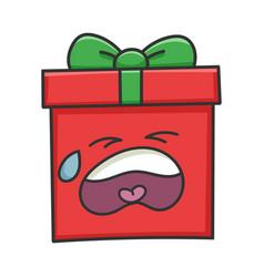 Crying present christmas gift box cartoon vector