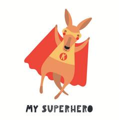 Cute kangaroo superhero vector