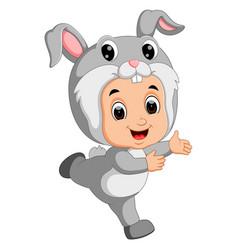 cute kids cartoon wearing bunny costume vector image