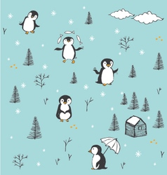 Cute pattern with hand drawn penguins vector