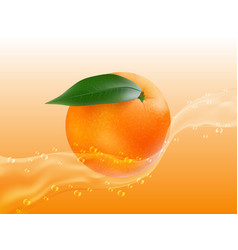 delicious juicy orange in spray of juice vector image