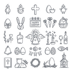 easter line icon set vector image
