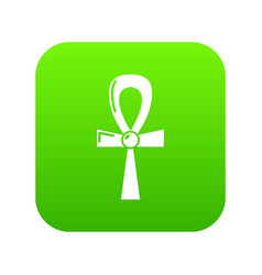 Egyptian ankh icon green vector