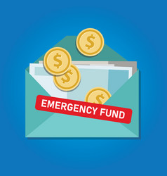Emergency fund money coins in envelope saved for vector