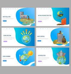 Environmental problems waste disposal websites vector