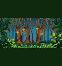 Fairy dark forest landscape vector