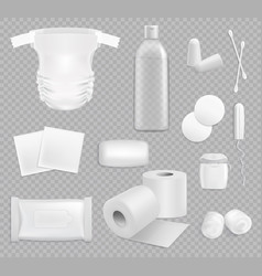 Family hygiene stuff isolated supplies set vector