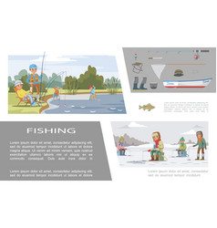 flat colorful fishing infographic concept vector image