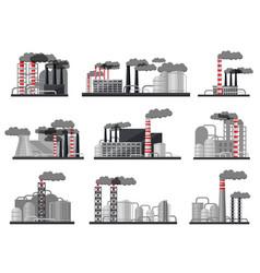 flat set of modern manufacturing factories vector image