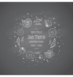 Frame with sea shells in sketch style on vector