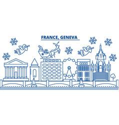France geneva winter city skyline merry vector