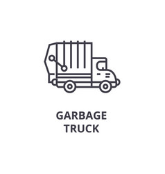 garbage truck line icon sign vector image