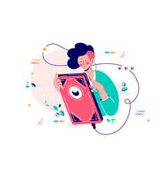 girl using giant smartphone vector image