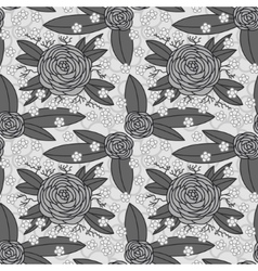 Grayscale rose pattern vector