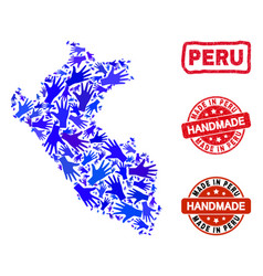 Hand collage peru map and distress handmade vector