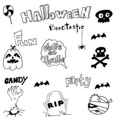 Hand draw Halloween doodle cute vector
