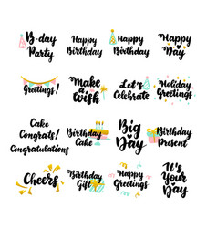 happy birthday hand drawn quotes vector image