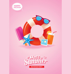 Hello summer card banner with life ring vector