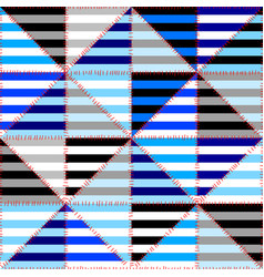 horizontal blue strips pattern in a patchwork vector image