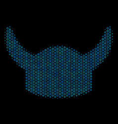horned helmet collage icon of halftone bubbles vector image
