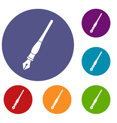 ink pen icons set vector image