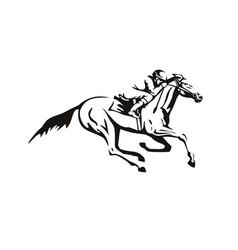 Jockey riding horse horseback or horse racing vector