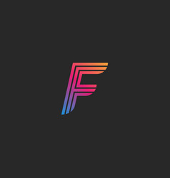 letter f linear logo monogram design template vector image