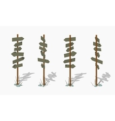 Low poly wooden signpost with the blank arrows vector